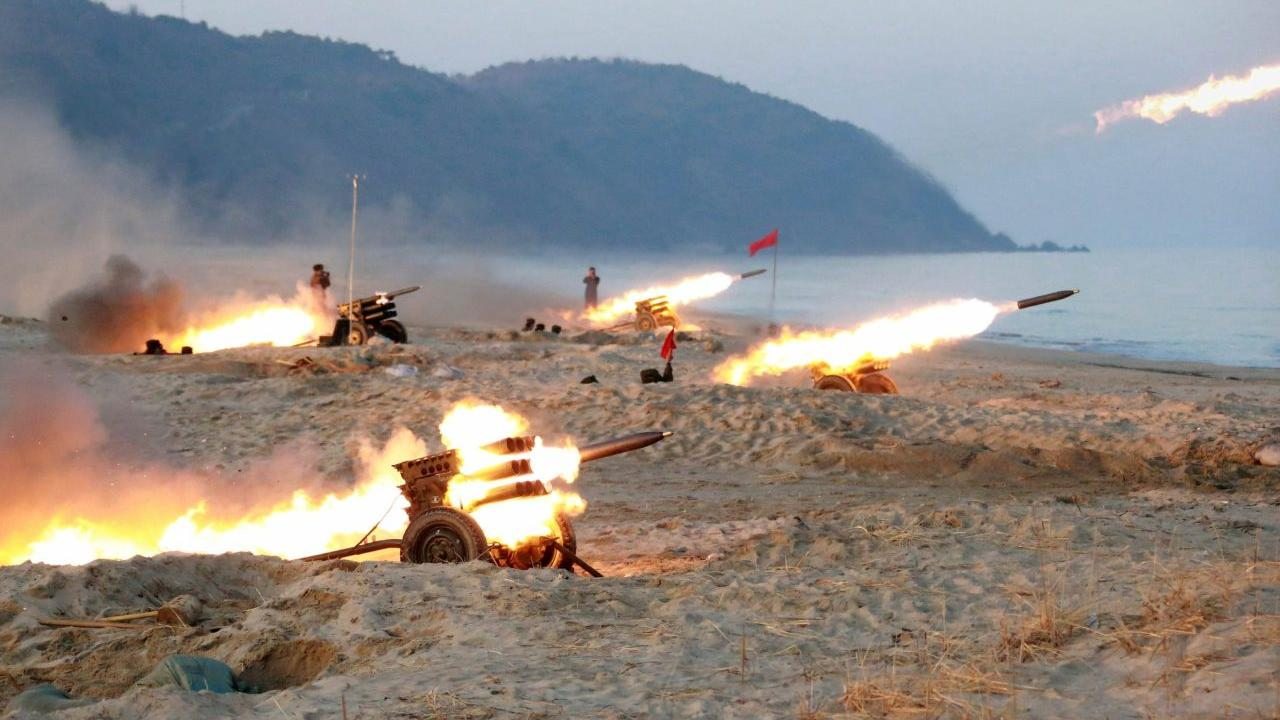 A view of a firing contest among multiple launch rocket system (MLRS) batteries selected from large combined units of the KPA, in this undated photo released by North Korea's Korean Central News Agency (KCNA) in Pyongyang on December 21, 2016. KCNA/via Reuters   ATTENTION EDITORS - THIS PICTURE WAS PROVIDED BY A THIRD PARTY. REUTERS IS UNABLE TO INDEPENDENTLY VERIFY THE AUTHENTICITY, CONTENT, LOCATION OR DATE OF THIS IMAGE. FOR EDITORIAL USE ONLY. NO THIRD PARTY SALES. SOUTH KOREA OUT. THIS PICTURE IS DISTRIBUTED EXACTLY AS RECEIVED BY REUTERS, AS A SERVICE TO CLIENTS.     TPX IMAGES OF THE DAY