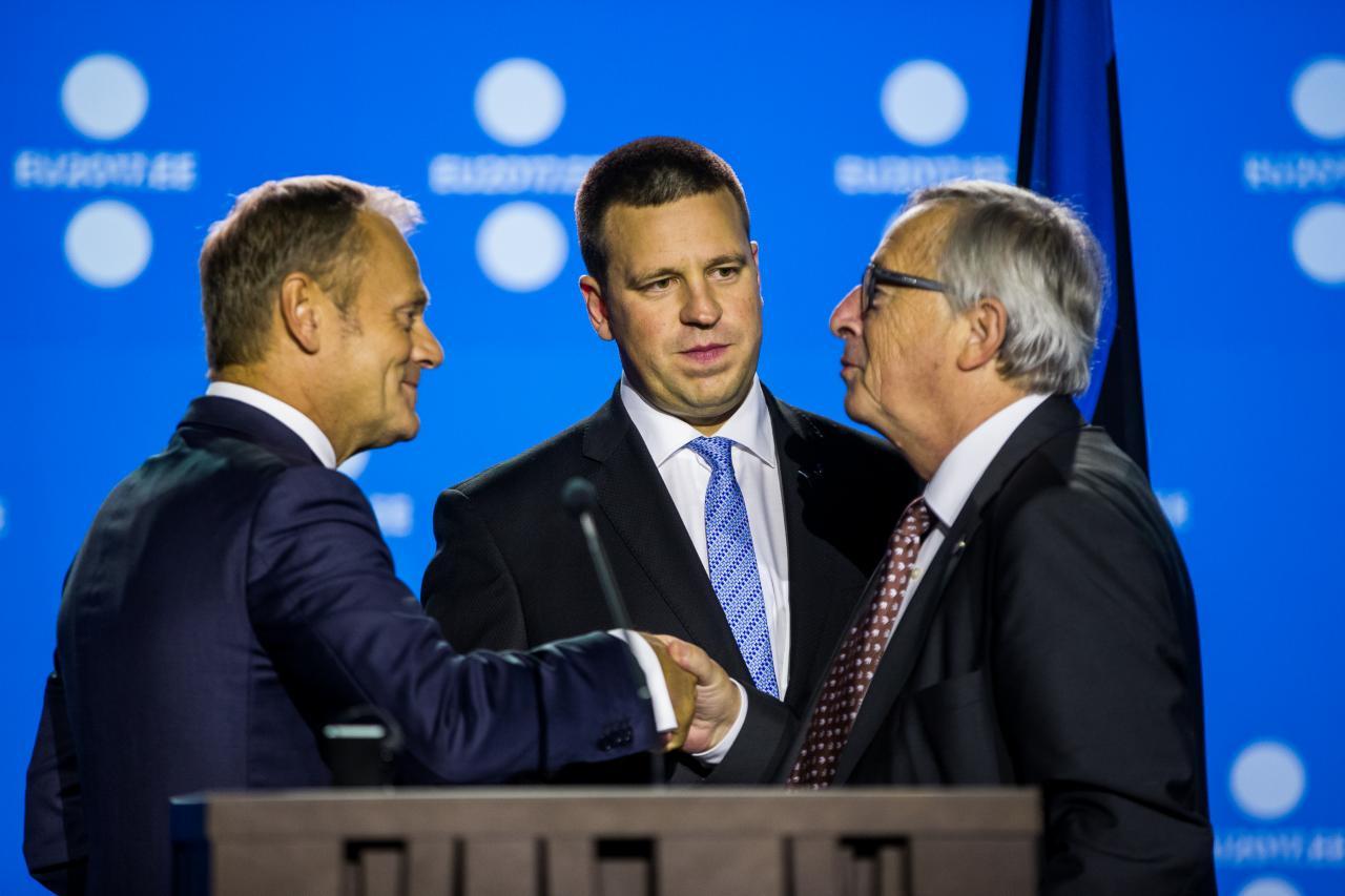 Donald Tusk, Jüri Ratas ja Jean-Claude Juncker.