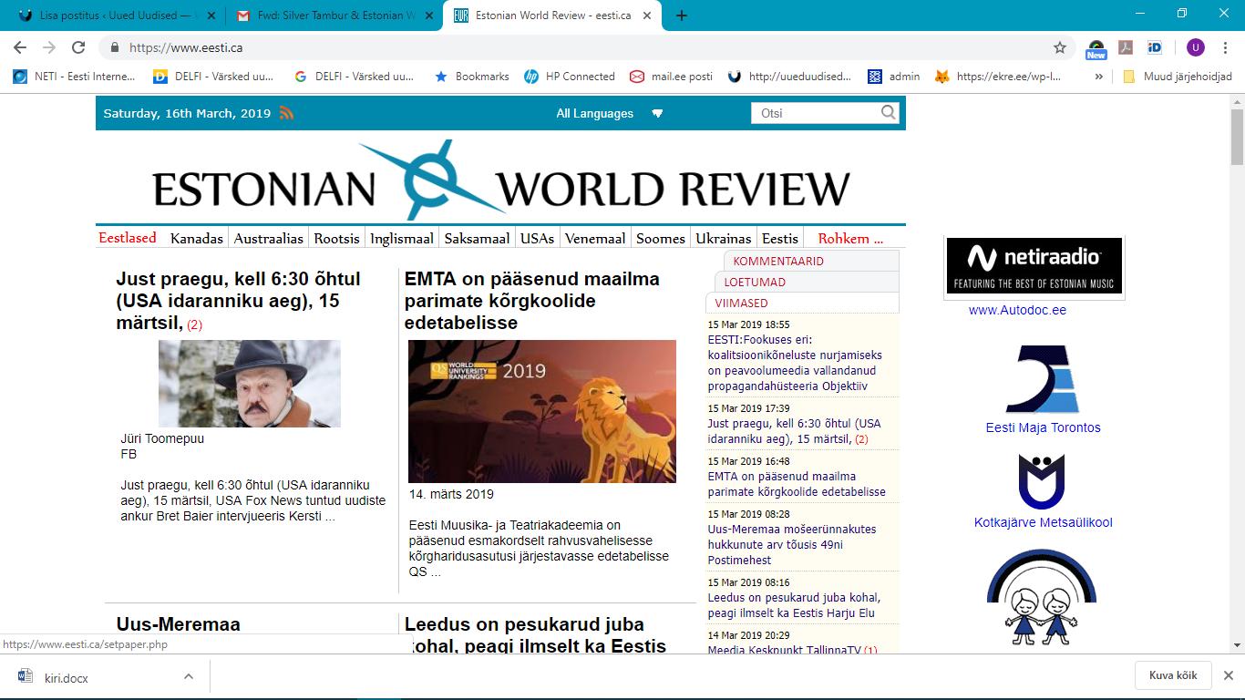 Lugeja küsib: kelle huve esindab nn sõltumatu väljaanne Estonian World Review?