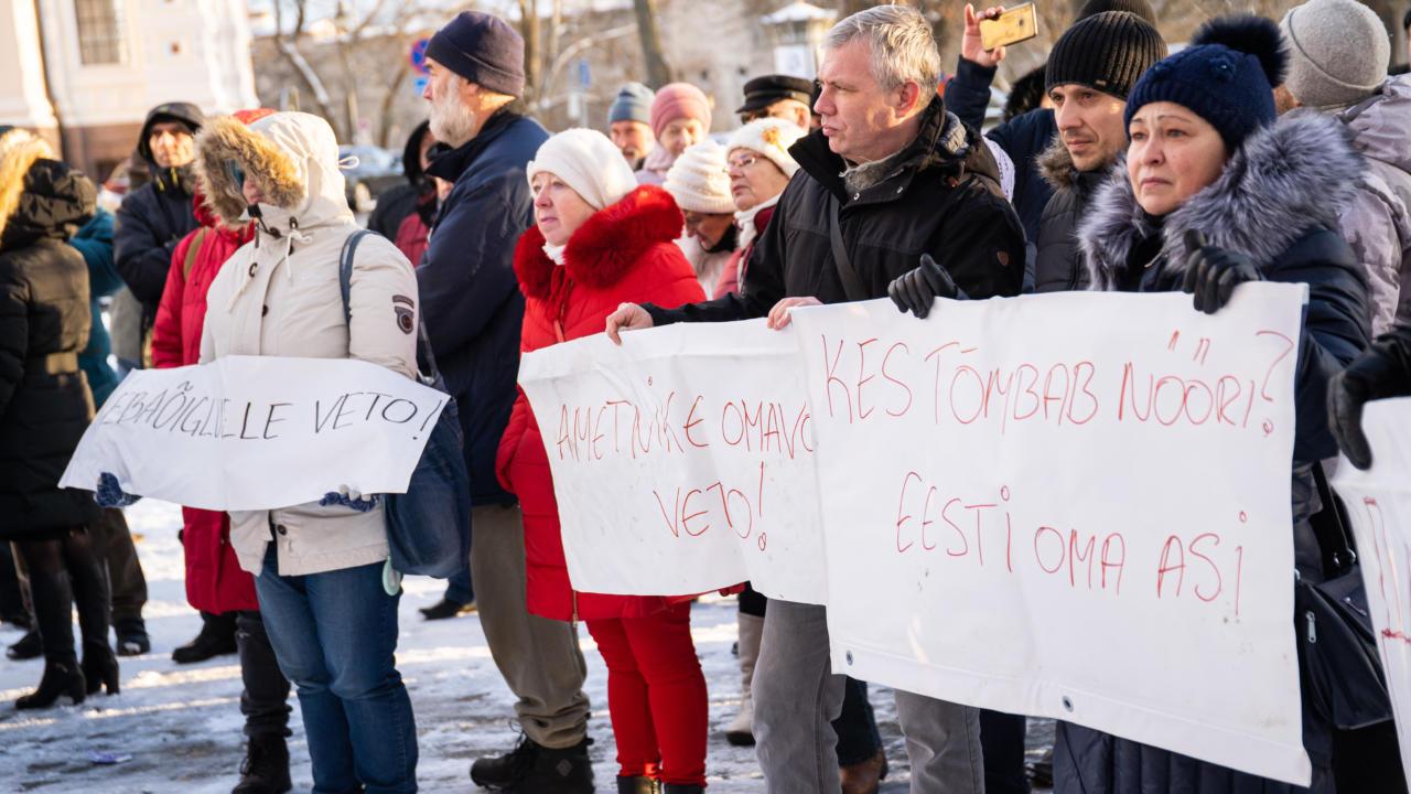 VIDEO: M.V.Wooli kalatööstuse toetajad tõid oma protestisõnumi Toompeale